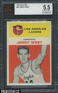 """1961-62 Fleer Basketball #43 Jerry West RC Rookie HOF BVG 5.5 """" LOOKS NICER """""""