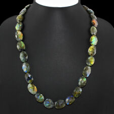 EXTRA FINE 307.05 CTS NATURAL BLUE FLASH OVAL FACETED LABRADORITE BEADS NECKLACE