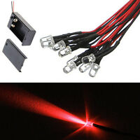 10 5mm LED RED 55cm Pre Wired Emitting Diode Lights 9 to 12V and Battery Clip