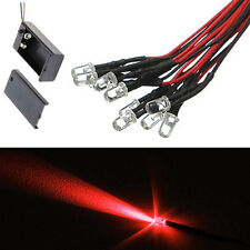 10 x LED - 5mm PRE WIRED LEDS 9 VOLT RED 9V Battery Clip PREWIRED From USA