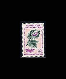 Central Africa, Sc #55, MNH, 1965, Platyedra moth & larve on cotton plant, GDD-A