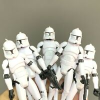 "Lot 5PCS Star Wars No.5 Clone Trooper With Stands Guns 3.75"" Aciton Figures Toy"