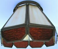 Vintage Stained Glass Shade Globe Lamp Tiffany Style Hanging Pendant Light