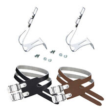 Wellgo MT-20 toe cage clips with W-6 double leather straps for pedal fixed gear