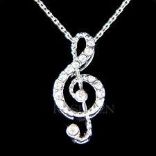 w Swarovski Crystal Dainty TREBLE g CLEF music Musical NOTE Charm Chain Necklace