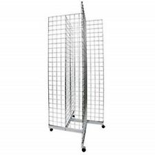 2 X 6 Grid Panel 4 Sided Floorstanding Display With Rolling Base Chrome