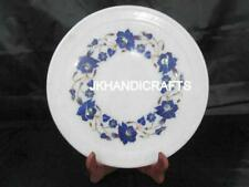 "6"" Round Marble Plate Wall Plate Lapis Lazuli Floral Inlay Art Home Decor Gift"
