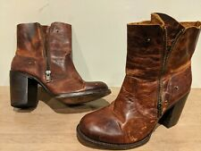FREEBIRD BY STEVEN BAMA Distressed Brown Ankle Booties Womens Shoes Size 10 EUC!