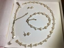 Vintage Boxed Pearl Necklace, Bracelet and Earrings Set (Part Sterling Silver)