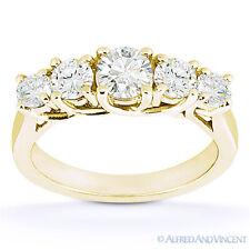 Round Cut Moissanite Anniversary 5-Stone Trellis Wedding Band in 14k Yellow Gold
