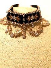 Womens Statement Gold Choker Chain Necklace Bib Costume Fashion Jewellery Goth