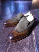 Handmade Men Two tone wing tip brogue fashion shoes moccasins Men two tone shoes