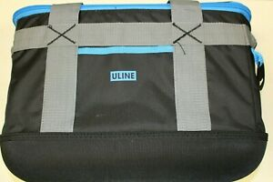 Uline S-22569BLU Black and Blue 36 Can Cooler - 18 x 10 x 12