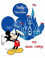 DISNEY FAMILY VACATION MICKEY MOUSE PERSONALIZED FABRIC/T-SHIRT IRON ON TRANSFER