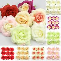 10/100X 9cm Rose Flower Heads Artificial Silk Party Wedding For Hair Clip Decor