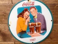 "Vintage Coca Cola Heavy Porcelain Advertising Sign 12"" Cola Soda Sign"