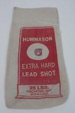 "Vintage HUMMASON #6 Lead Shot Canvas empty bag 25 lbs  6"" x 13.5"""