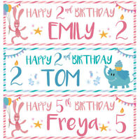 2 personalised happy birthday banner baby animal children boy girl party poster
