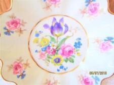 VINTAGE CZECHOSLOVAKIA PORCELAIN SAUCER DISH WITH PINK & PURPLE FLOWERS