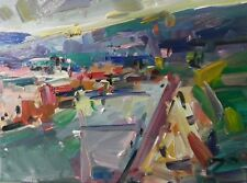 JOSE TRUJILLO - OIL PAINTING BEACH SEASHORE ROAD EXPRESSIONIST MODERNISM ARTWORK