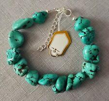 genuine stabilised turquoise beads bracelet 17 cm