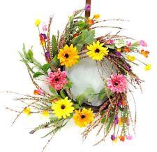 """Gerbera Daisy Mix Flower Vine Wreath~Pvc/Silk/Artificia l~22"""" Multi Color"""