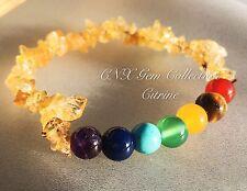 Gemstone Crystal Citrine ChipStone Chakra Beads Stretchy Bracelet Gemini Virgo