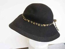 Aqua from Bloomingdales 100% Italian Wool Wide Brim Hat, leopard band Packable