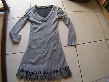 Robe Sepia lainage gris doublée bas volanté avec ruban effet satiné T 38/40