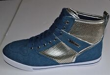 Brand New GUESS WGKRYSTA-R Hi Tops Fashion Sneakers Shoes Denim/ Silver Size 7