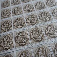 FEUILLE SHEET TIMBRE TABLEAU CATHÉDRALE AMIENS N°1586 x25 1969 NEUF ** LUXE MNH