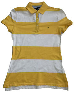 TOMMY HILFIGER Women's Heritage Polo Slim Fit Sz Sml Yellow Stripe Pre Owned *L1