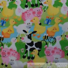 BonEful Fabric FQ Flannel Quilt Baby Duck Cow Farm Animal Pink Pig Bee Butterfly