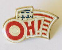 OH! American US Flag Advertising Pin Badge Vintage (C21)