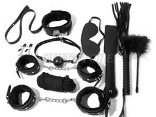 10-Piece Bondage Set Collar Whip Cuffs Blindfold Rope Restraint BDSM Toy Kit