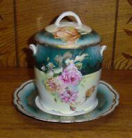 Vintage Bavarian Colorful Floral Porcelain Condensed Milk / Jam Jar
