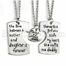 3pcs Daddy Mother Daughter Forever Love Family Heart Puzzle Pendant Necklace Set
