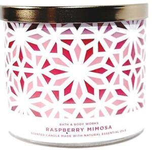 Bath & Body Works Raspberry Mimosa Lattice Glass Style Jar3 Wick Candle