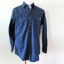 VINTAGE ORIGINAL ROEBUCK WESTERN DENIM SHIRT PEARL SNAP BUTTON 1960's SIZE L