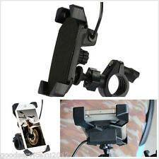 Portable Motorcycles Handlebar Mount Phone GPS Holder Bracket With USB Charger