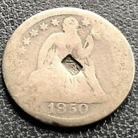 1850 Seated Liberty Dime 10c Circulated Counterstamped #21766