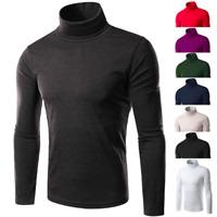 Men's Winter Warm Cotton High Neck Pullover Jumper T Shirt Tops Turtleneck AU