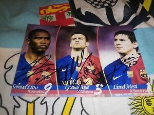 Lionel Messi Gérard Pique Samuel Eto'o hand signed FC Barcelona photo