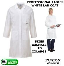 LADIES HIGH QUALITY LAB COAT WHITE,DOCTORS,DENTIST,DAIRY,VET,CHEMISTRY,BIOLOGY,