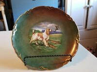 Unsigned Painted Plate Of English Setter Guarding Bird