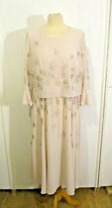 Jacques Vert Dress Size 12 Mother of Bride Wedding Pale Pink Embroidered Sleeve
