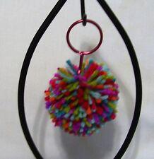 "Key Chain with 2.5"" Yarn Pom-Pom Attached-- Color-Fiesta"