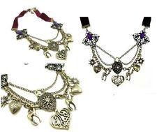N139 Betsey Johnson Animal Kingdom Deer Hearts Purple Ribbon Necklace US