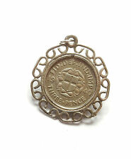 Antique Silver GEORGE V 1940 THREE PENCE COIN IN FANCY 925 MOUNT Charm 2.9g