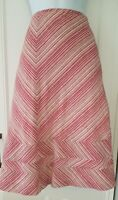 Womens Monsoon A Line Pink Stripe Linen Wool Mix Lined Skirt 14 Vgc.